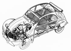 Citroën 2CV Ghosted drawing