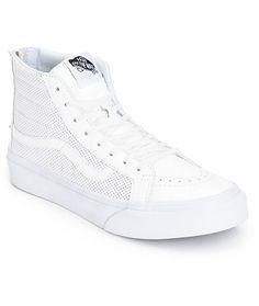 822d6d3f249816 Vans Sk8-Hi Slim White Perforated Shoes