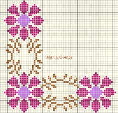 pattern / chart for cross stitch, knitting, knotting, beadi Cross Stitch Boarders, Counted Cross Stitch Patterns, Hand Embroidery Stitches, Cross Stitch Embroidery, Crochet, Kids Rugs, Knitting, Floral, Handmade