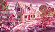 Candy Cottage made out of all kinds of pink sweets and candies.Landscape made out of food by photographer and food artist Carl Warner Carl Warner, Foto Picture, Photo Book, Photo Art, Hansel Y Gretel, Pink Sweets, Sweets Art, Lollipop Sweets, Candy House