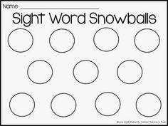 Sight Word Snowball FREEBIE