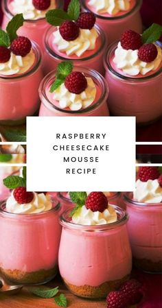 Raspberry Cheesecake Mousse – oh my are these good! They're bursting with vibrant, fresh raspberry flavor and they have that light and creamy, delicious, perfectly smooth and silky mousse texture that Oreo Dessert, Dessert Ig Bas, Dessert Light, Light Desserts, Mini Desserts, Just Desserts, Delicious Desserts, Yummy Food, Cheesecake Mousse Recipe