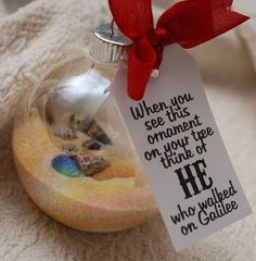 Christmas Ornament for under $1--good idea for neighbor gifts or for visiting teaching sisters. Christmas Activities, Christmas Bulbs, Christmas Holidays, Christmas Decorations, Christmas Ideas, Christmas Neighbor, Beach Christmas Ornaments, Holiday Ideas, Church Activities