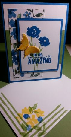 Stampin' UP! Painted Petals stamps set, with a butterfly from Nature's Perfection stamps set. CS: Pacific Point, Wild Wasabi, Whisper White, Daffodil Delight. DSP: Painted Blooms. Handmade by Q2UNIQUEDESIGNS ~ 2015