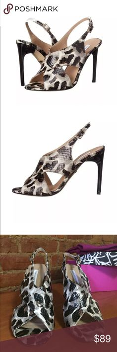 """Diane von Furstenberg Vick Dress Sandal Original Retail Price: $350.00; over 89% off retail!  Brand New, Never Worn In original box with dust bag  Details: - Open toe - Crisscross vamp - Allover snow cheetah printed and reptile embossed - Slingback strap with buckle closure - Sculpted plastic stiletto heel - Approx. 4"""" heel - Made in Italy -Dustbag included   Materials: Leather upper, lining, and sole Please Note: 1st 2 photos of this listing are professionally done, the rest are all…"""