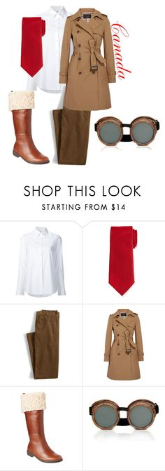 """""""Canada inspired outfit"""" by liveandlearnbish ❤ liked on Polyvore featuring Misha Nonoo, Neiman Marcus, Lands' End, J.Crew and Taryn Rose"""