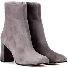 Maryam Nassir Zadeh Agnes Suede Ankle Boots (12.155 ARS) ❤ liked on Polyvore featuring shoes, boots, ankle booties, grey, gray suede boots, suede ankle booties, gray suede booties, grey boots and gray boots