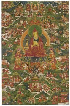 A Thangka Depicting Atisha Dipamkara (responsible for reintroducing traditional buddhism to tibet) Sotheby's Tibetan Mandala, Tibetan Buddhism, Buddhist Teachings, Buddhist Art, Thangka Painting, Buddha Painting, Historical Art, Abstract Drawings, Religious Art