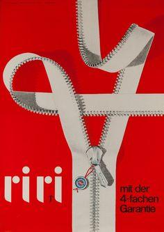 1950s Riri Zippers Swiss vintage advert poster