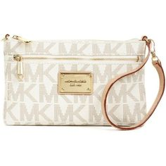 Michael Michael Kors Mk Logo Large Wristlet ($98) ❤ liked on Polyvore featuring bags, handbags, clutches, michael kors clutches, white purse, monogrammed wristlet, wristlet purse and monogrammed purses