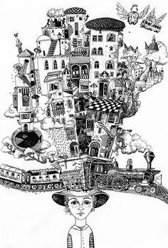 Set of illustrations for December issue BAKU magazine, Azerbaijan Sveta Dorosheva Magazine Illustration, Art And Illustration, Doodle Art Drawing, Art Drawings, Ink Illustrations, Art Plastique, Art Inspo, Comic, Sketches