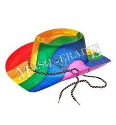 49e6023f2af Hat  Cowboy Style Ptd Glitter Rainbow for Fancy Dress Accessory Hat