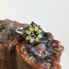 Princess Kylie Synthetic Blue Opal and Clear Cubic Zirconia Multiple Pear Ring Sterling Silver