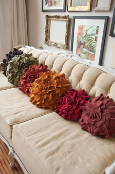 Throw pillows made from recycled wool - love these!