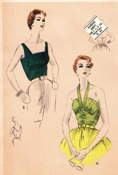 """Orig Vintage 1950s Vogue 8019 Glam Elegant Deep V-Neck Gathered Halter Top Evening Wear Bust 30"""" Factory Folded Easy To Make Sewing Pattern"""