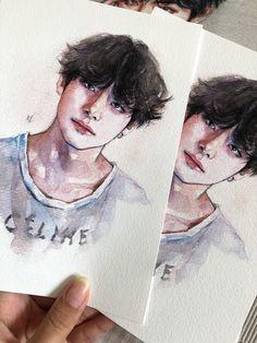 Taehyung Fanart, Kpop Drawings, Bts Aesthetic Pictures, Bts Chibi, Watercolor Drawing, Kpop Fanart, Art Sketchbook, Artist Art, Bts Wallpaper