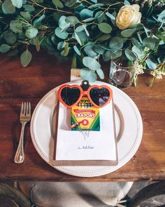 Keep it simple on the kids table. A pack of crayons, a clipboard of fresh paper, and pair of cute shades are all you need to keep little ones content throughout the event. wedding favors 50 Creative Wedding Favors That Will Delight Your Guests Kids Wedding Favors, Kids Table Wedding, Homemade Wedding Favors, Creative Wedding Favors, Inexpensive Wedding Favors, Cheap Favors, Wedding Gifts For Guests, Wedding With Kids, Bridal Shower Favors