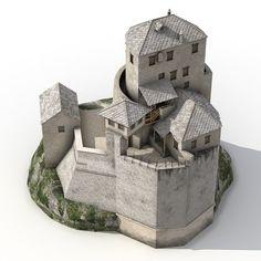 old castle hill model Medieval Houses, Medieval Castle, Medieval Fantasy, Fantasy Castle, Fantasy House, Castle Crafts, Castle Illustration, Arte Steampunk, Cardboard Model