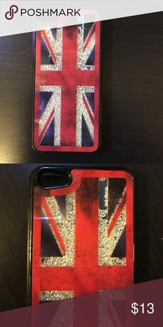 British flag iPhone 5 phone case For iPhone 5 and 5S super cute British flag phone case with jewels on the inside that move Claire's Accessories Phone Cases