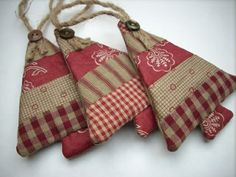 Fabric Christmas ornaments Country colors Set of 3 Sand Burgundy classic SALE in my SHOP. via Etsy. Fabric Christmas Ornaments, Prim Christmas, Christmas Sewing, Country Christmas, Handmade Christmas, Christmas Trees, Christmas Quilting, Burlap Ornaments, Ornaments Ideas
