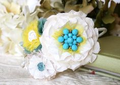 Bridal Headband - Turquoise, Yellow and Ivory White Hairpiece