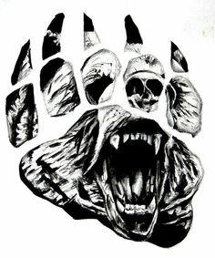 Tribal Bear Paw Prints Tattoo On Biceps photo - 4 Tribal Bear Tattoo, Bear Paw Tattoos, Grizzly Bear Tattoos, Wolf Tattoos, Animal Tattoos, Body Art Tattoos, Sleeve Tattoos, Grizzly Bears, Ship Tattoos