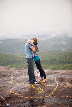bald-rock-south-carolina-summer-engagement-outdoors-mountains-post-engaged-hug