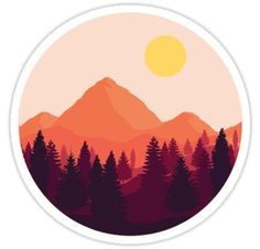 """Forest Mountain Horizon"" Stickers by Brandon Surya Tumblr Stickers, Cool Stickers, Printable Stickers, Laptop Stickers, Making Stickers, Round Stickers, Deco Paris, Pink Mountains, Posca Art"