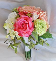 Pink Peony Rose and Apple Green Bridal Bouquet