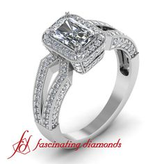 Exquisite Split Band Emerald Cut Vintage Engagement Ring.