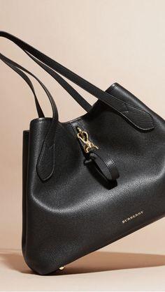 Black Medium Grainy Leather Tote Bag 7