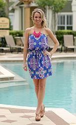 Aztec Pocket Dress: Royal Blue