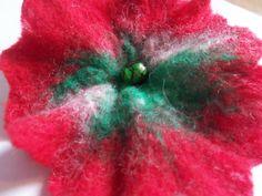 Handmade Felt Red Poppy Flower for hair or by HeartFeltbyAndrea, $14.00