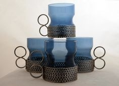 Set of Iittala Tsaikka Tea Cups in Blueberry Designed by Timo Sarpaneva in 1957