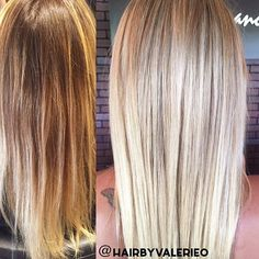 beautiful blonde from yesterday. she came in with a brassy 3 month old balayage (left) and wanted to be as light as possible with tradition foil highlights (right)... thank god for @olaplex for making it possible! #salonappearancespalmcity #hair #blonde #blondehair #highlights #platinum #haircolor #olaplex #colorcorrection #beforeandafter #straighthair #matrix