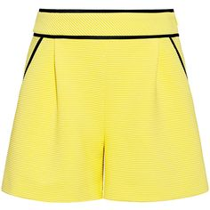 Boutique Moschino - Ribbed Knit Shorts ($350) ❤ liked on Polyvore featuring shorts, high waisted short shorts, yellow shorts, short shorts, high-rise shorts and high rise shorts