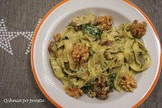 Qchnia po prostu: Makaron z kurczakiem i pesto z rukoli Lidl, Pesto, Chicken, Food, Essen, Meals, Yemek, Eten, Cubs