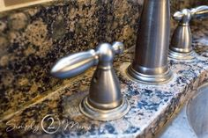 Want to remove those stubborn hard water stains from your granite counter tops? Our simple tutorial gets the job done without using any harsh chemicals. #simply2moms #granite #hardwaterstains #cleaningtips #hardwater #mineraldeposits #granite How To Clean Granite, Hard Water Stains, Granite Countertops, Cleaning Hacks, Counter Tops, Simple, Hate, Granite Worktops, Countertops