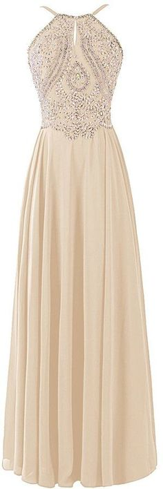 Stunning Chiffon #Backless Cheap Long #Prom Dress