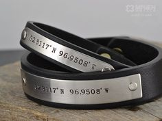 GPS Coordiantes Latitude Longitude Bracelet - Two (2) Personalized Leather Bracelets - His and Hers Bracelets - Hand Crafted in USA