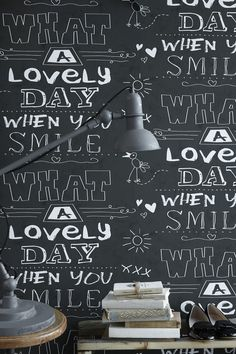 "Cozz ""Smile"" Collection Wallpaper Chalkboard, What a lovely day. #Behang #krijtbord #kinderkamer"