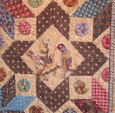 Portion of the Burnt Quilt, Country Threads: Di Ford Fabric Yarn, Fabric Birds, Blue Quilts, Mini Quilts, Quilt Block Patterns, Quilt Blocks, Circle Quilts, Civil War Quilts, Medallion Quilt