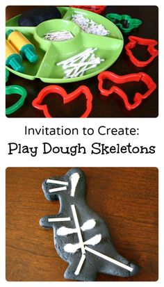 Independence day crafts fine motor Invitation to Create-Play Dough Skeletons or X-Rays.fun fine motor play for Halloween or Letter X activities Dinosaurs Preschool, Dinosaur Activities, Preschool Science, Toddler Activities, Playdough Activities, Halloween Preschool Activities, Teach Preschool, Kid Science, Health Activities