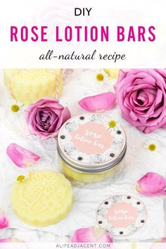 DIY Lotion Bars with Printable Labels. These beautiful DIY rose lotion bars are delicately scented with rose essential oil. Non greasy and fragrant, this easy recipe is a luxurious way to moisturize your skin. Makes a great gift idea for yourself or a loved one! Includes free printable labels. Also includes tips for making your homemade lotion bars. #alifeadjacent #handmade #lotion #essentialoils #healthyskin #lotionbars