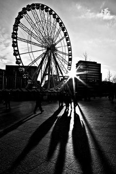 Shadows of the Wheel (b&w) Shadow Photos, Light Board, Hidden Objects, Low Angle, Shadow Art, City Photography, Travel Light, Light And Shadow, Optical Illusions