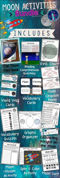 This collection of moon themed activities focus on moon phases, moon and Earth comparisons, & Gravity. These are great tools to build student vocabulary and understanding. Click the image to find out more! ($) #TpT #Teacherspayteachers #Moon #MoonActivities #LunarCycle #MoonCycle #ScienceActivities #Science