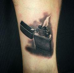 Zippo lighter tattoo art by Instagram user @ ravilassi