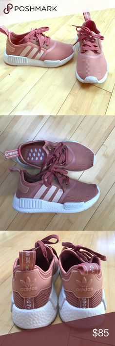 Adidas NMDs raw pink These are amazing and so comfortable, unfortunately they are too tight and I can't make them work. I wore them once and cleaned up the bottoms a little bit. Otherwise they're like new! I threw away the box and receipt a month ago when I got these since I was obsessed and figured they'd fit. Adidas Shoes Sneakers