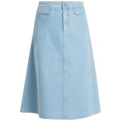 M.i.h Jeans Byron A-line cotton-corduroy midi skirt ($225) ❤ liked on Polyvore featuring skirts, light blue, cotton skirts, a-line skirts, a line midi skirt, calf length skirts and corduroy skirt