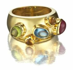 Multi Gemstone Cabochon 14k Gold Designer Ring